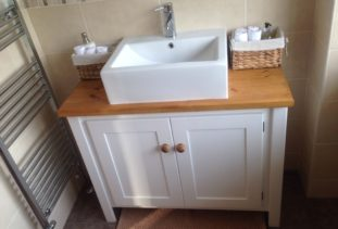 double vanity unit with oak top