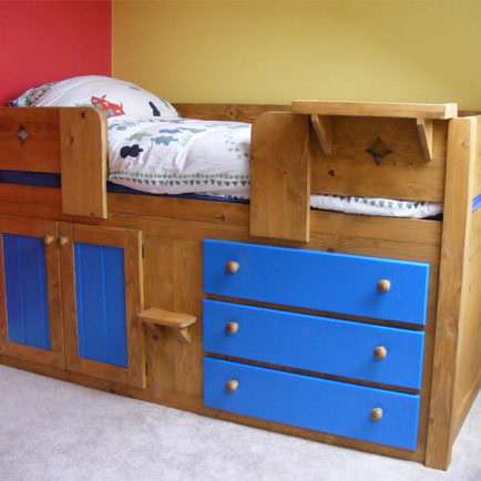 3 Drawer Traditional Cabin Bed with Blue Features