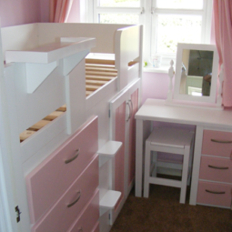 Small Pink and White 3 Drawer Desk