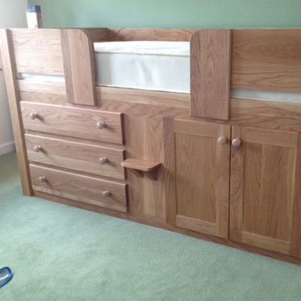 3 Drawer Cabin Bed in Solid Oak with Solid Oak Rails And Steps