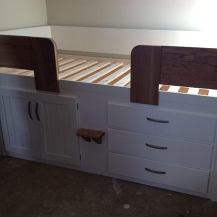 3 Drawer Kids Cabin Bed White With Solid Oak Rails And Steps