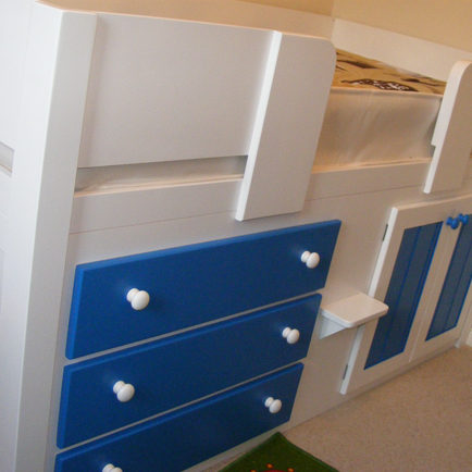 3 Drawer White and Blue Cabin Bed