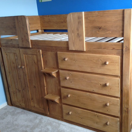 4 Drawer Cabin Bed with Traditional Finish