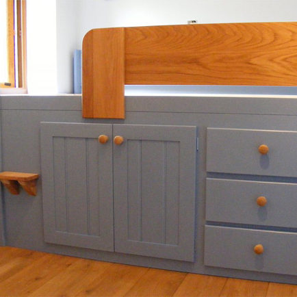 Cooks Blue Bespoke Cabin Bed With Solid Oak Front Rail and Steps