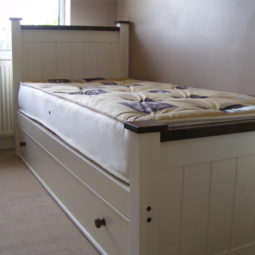Single Bed White with Brown Trim and Pull Out Draw