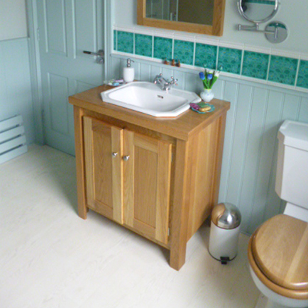 Solid Oak Vanity Unit With Solid Oak Top