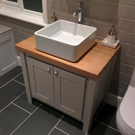 super popular 1575b 70c77 Manor House Grey Vanity Unit with Solid Oak Top