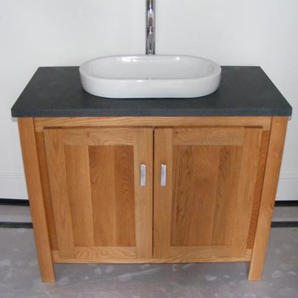 Solid Oak Vanity Unit with Black Granite Top
