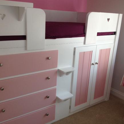 4 Drawer Cabin Bed White & Princess Pink