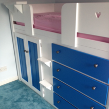 4 Drawer White Cabin Bed with Royal Blue Drawers and Wardrobe Doors