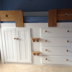4 Drawer White Cabin Bed with Solid Oak Rails and Steps
