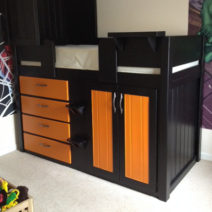 Black 4 Drawer Bed with Orange Drawers and Wardrobe Doors