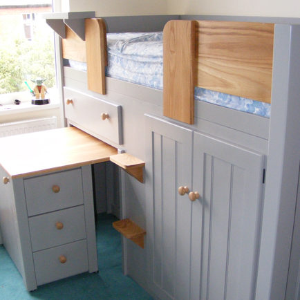 Grey Cabin Bed with Pull Out Dressing Table with Solid Oak Rails and Steps