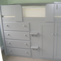 Manor House Grey 4 Drawer Cabin Bed with Wooden Knobs
