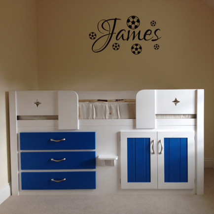 White and Royal Blue 3 Drawer Cabin Bed