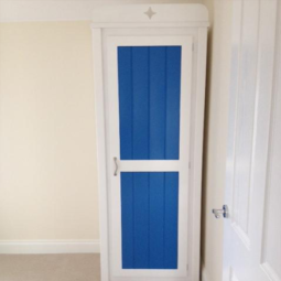 White and Royal Blue Single Wardrobe with Star Cutout
