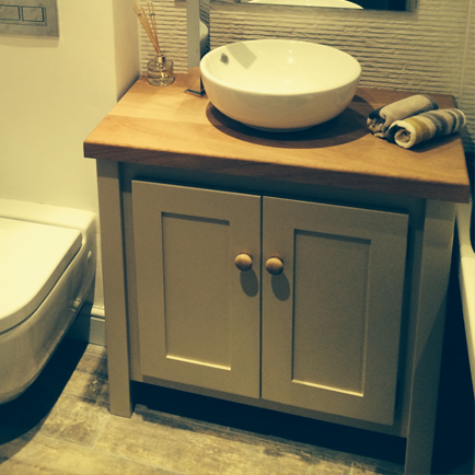 Oxford stone vanity unit with solid oak top aspenn furniture - Oak bathroom sink vanity units ...
