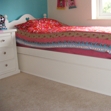 White Single Bed With Heart Cut Out