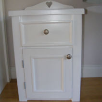 White Bedside Cabinet With Heart Cut Out