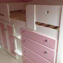 White & Princess Pink 4 Drawer Cabin Bed with Heart Plinth