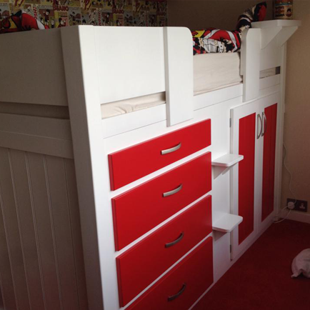 White & Ferrari Red 4 Drawer Cabin Bed