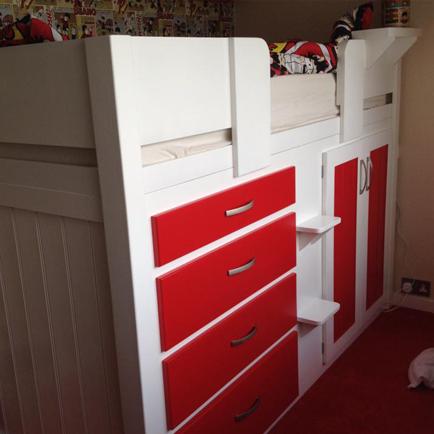 White & Ferrari Red 4 Drawer Cabin Bed