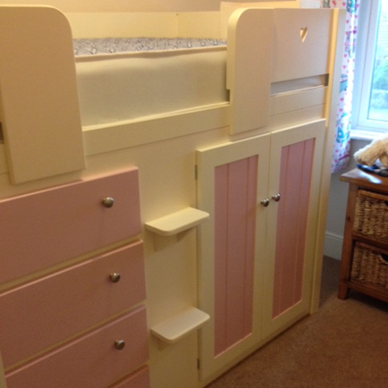Cream and Princess Pink 4 Drawer Cabin Bed