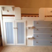 White and Sky Blue 4 Drawer Cabin Bed