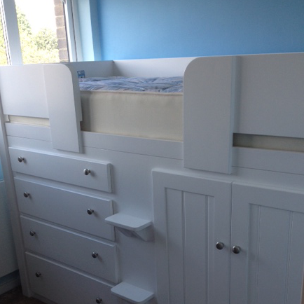 White 4 Drawer Cabin Bed