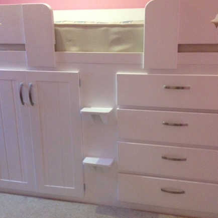 White 4 Drawer Cabin Bed with Star Shaped Cut Outs