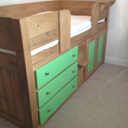 3 Drawer Cabin Bed in Traditional and Vibrant Green