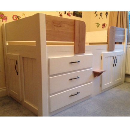 3 Drawer Cabin Bed With Solid Oak And Additional Door