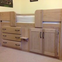 Solid Oak 3 Drawer Cabin Bed