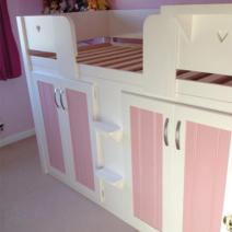 4 Door Cabin Bed in White & Princess Pink