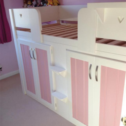 4 Door Cabin Bed in White & Princess Pink