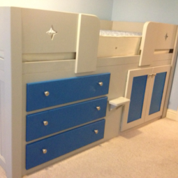 3 Drawer Cabin Bed in Pavillion Grey & Royal Blue