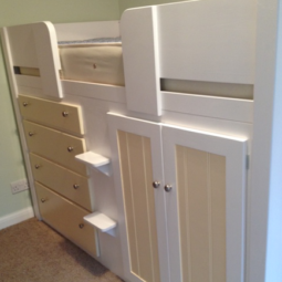 4 Drawer Cabin Bed in White and Cream