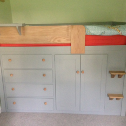 Manor House Grey Bespoke Cabin Bed with Solid Oak
