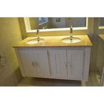 Cream Wall Hung Double Vanity Unit with Sandstone Quartz Top