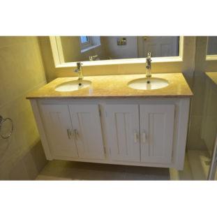 Cream Wall Hung Double Vanity Unit with Sandstone Quartz Top