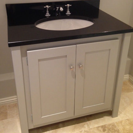 Pavilion Grey Vanity Unit With Black Granite Top Aspenn Furniture