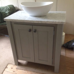 Manor House Grey Vanity Unit with Carrara Marble Top