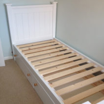 White Single Bed with 2 Pullout Drawers
