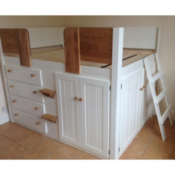 4ft 6 Cabin Bed in White and Solid Oak with Ladder