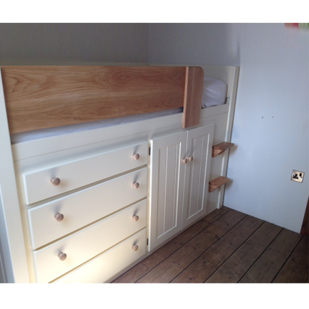 Bespoke cabin bed in cream and solid oak