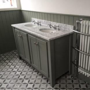 Double Vanity Unit In Charlestone Grey With Carrara Top