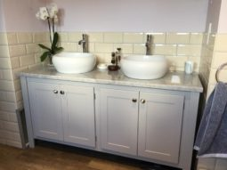 Pavillion grey double vanity unit with carrara marble top