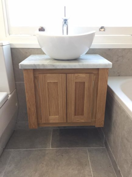 Made In Yorkshire Solid Oak Wall Hung Vanity Unit With Carrara Marble Top