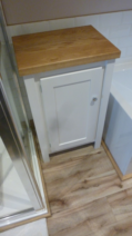 Bathroom Cupboard  – White with solid oak top