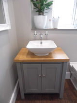 Vanity unit in manor house grey with solid oak oiled top
